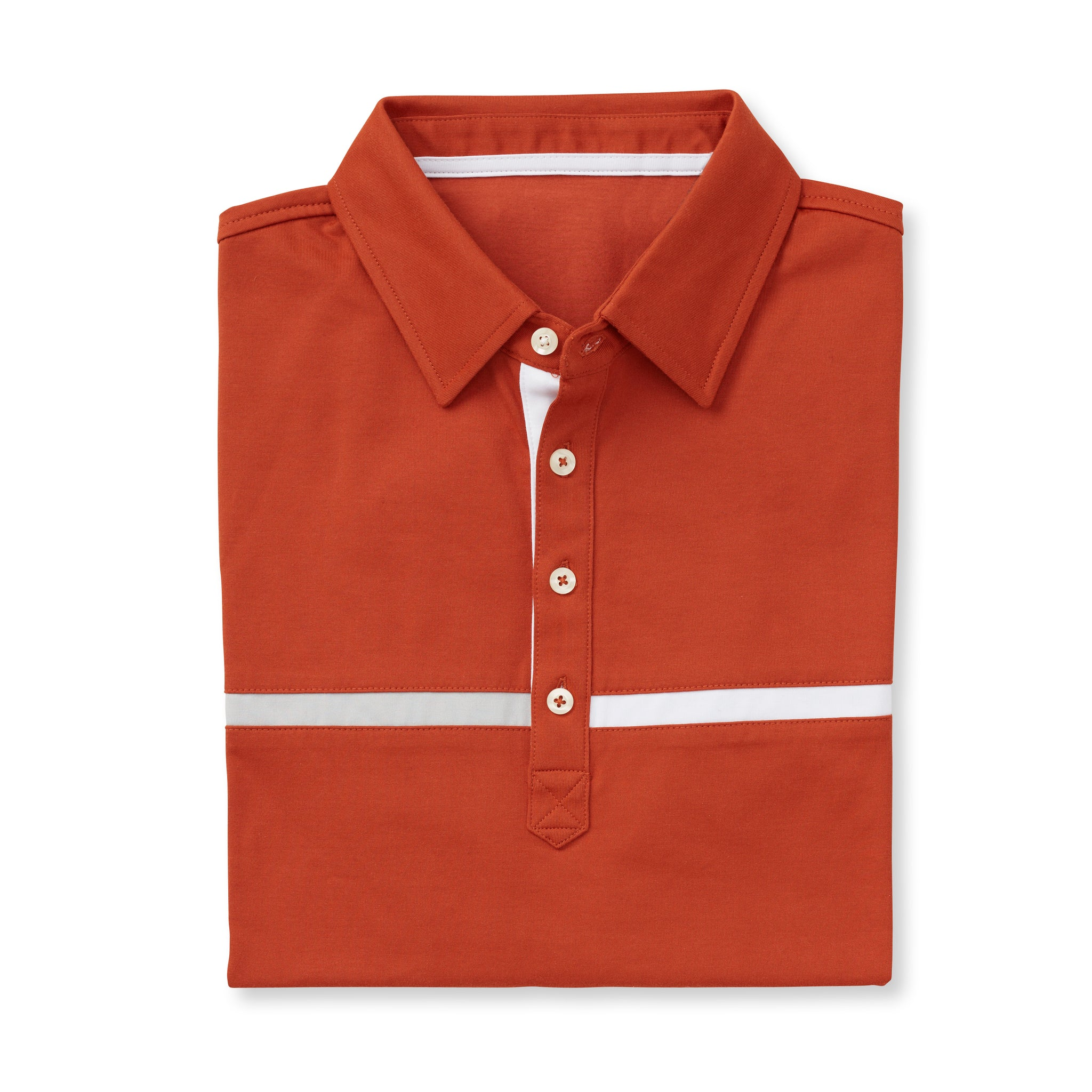 LUXTEC Champions Color Block Short Sleeve Polo - Burnt Orange IS72420