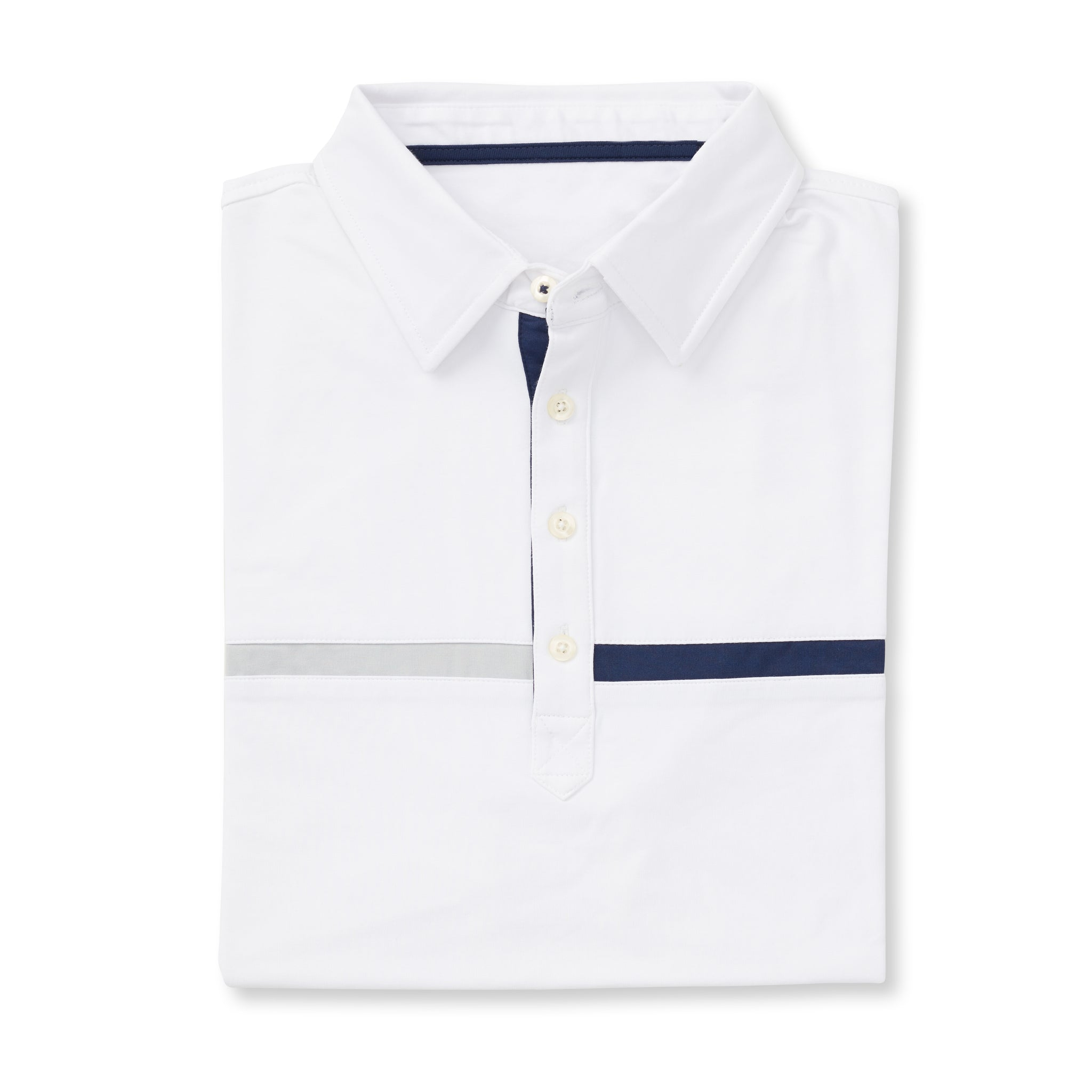 THE SNEED LUXTEC COLOR BLOCK POLO - White IS72420