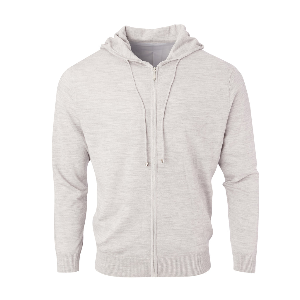 THE CHITOWN MERINO FULL ZIP HOODIE - Cloud Heather IS75708FZ