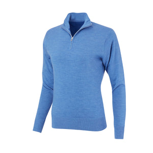 THE WOMEN'S CHITOWN MERINO HALF ZIP PULLOVER - Nautical Heather IS75708HLSW