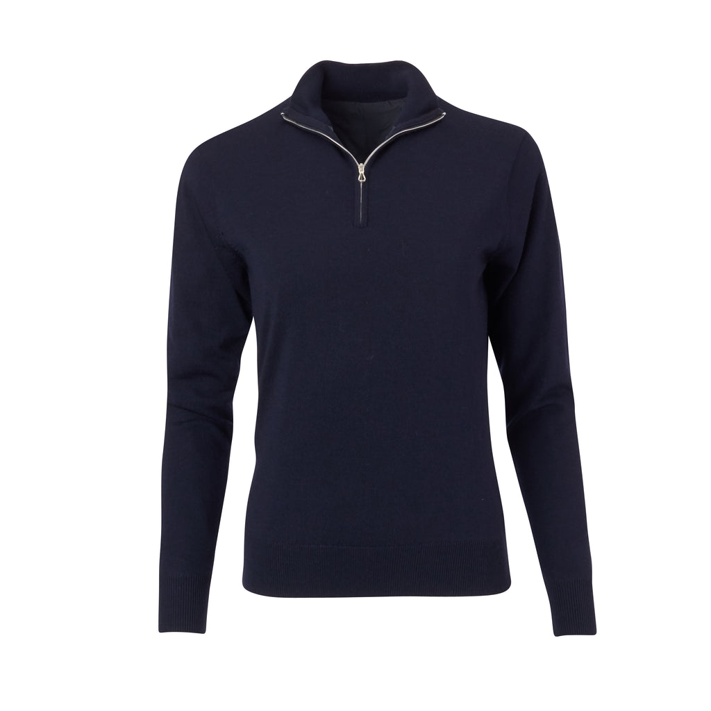 THE WOMEN'S CHITOWN MERINO HALF ZIP PULLOVER - Navy Heather IS75708HLSW