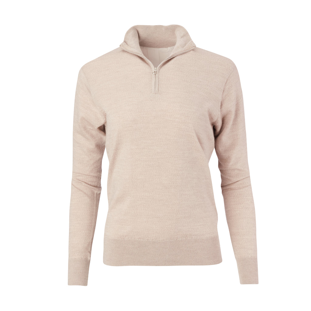 THE WOMEN'S CHITOWN MERINO HALF ZIP PULLOVER - Tan Heather IS75708HLSW