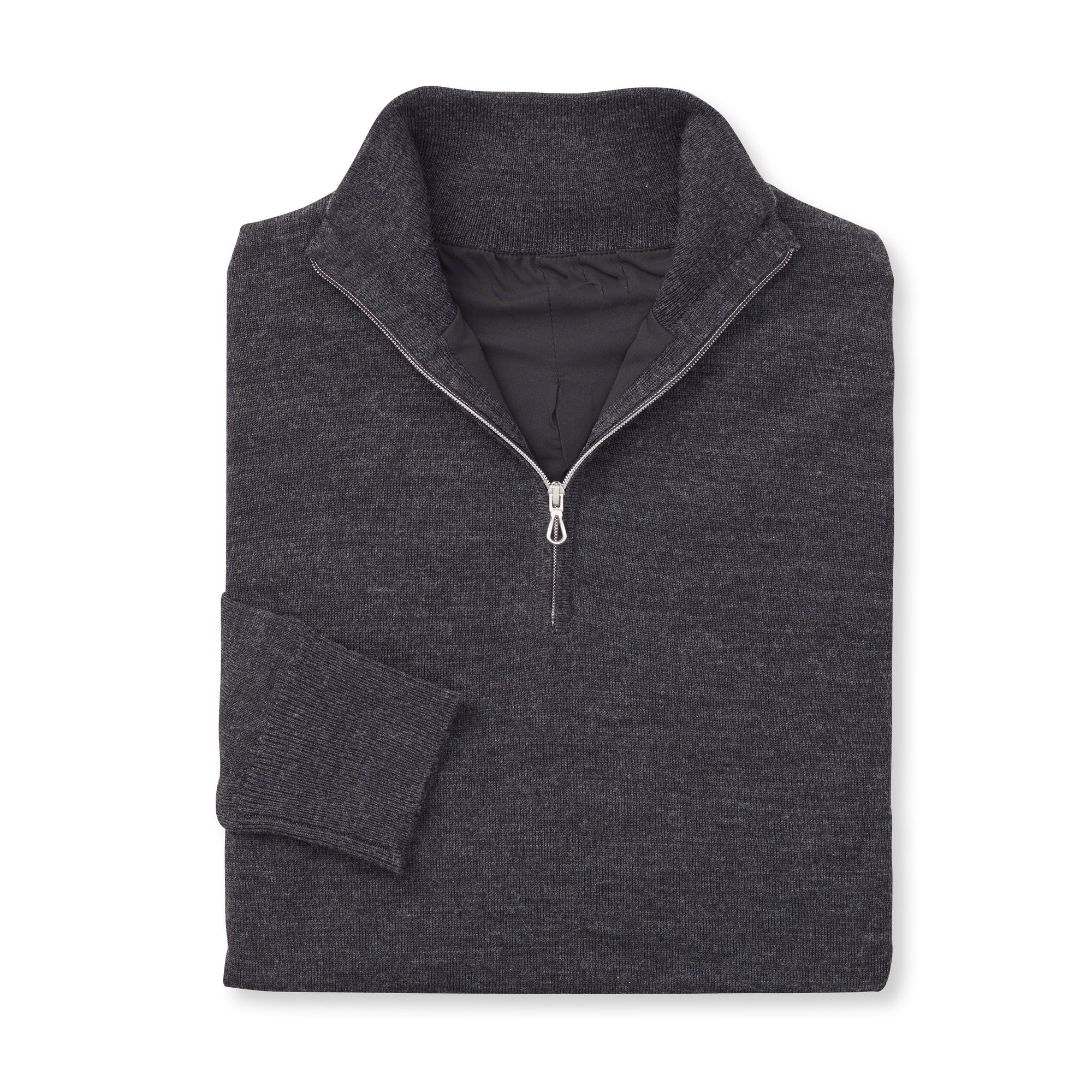 THE CHITOWN MERINO HALF ZIP PULLOVER - Black Heather IS75708HLS