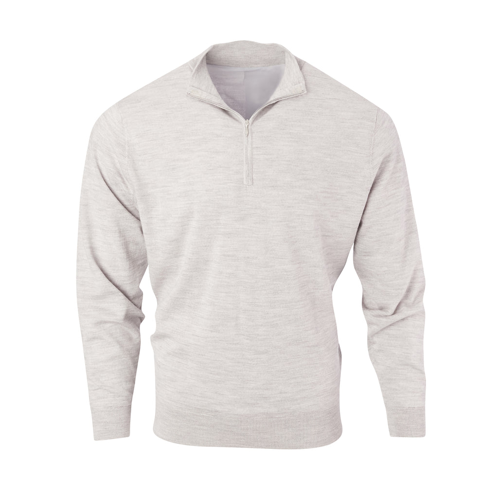 THE CHITOWN MERINO HALF ZIP PULLOVER - Cloud Heather IS75708HLS