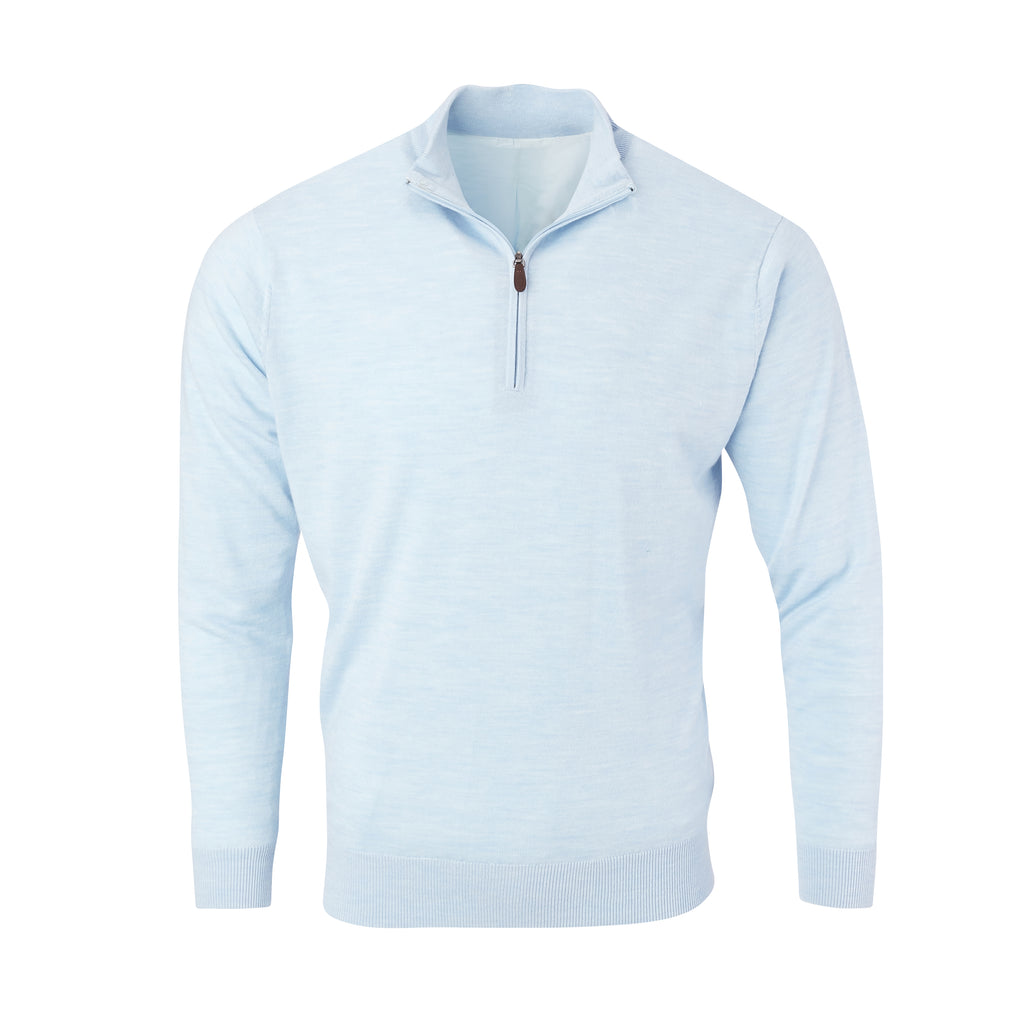 THE CHITOWN MERINO HALF ZIP PULLOVER - Maui Heather IS75708HLS
