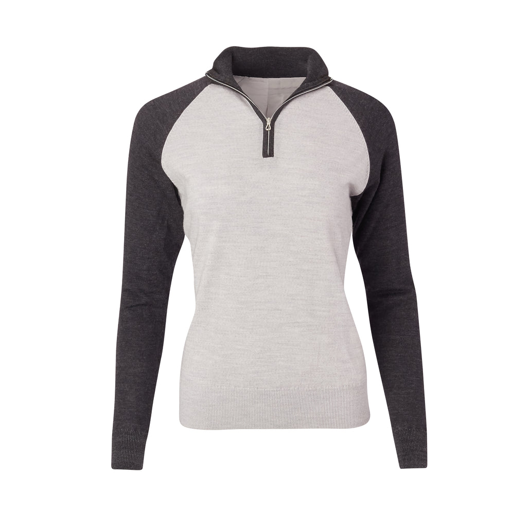 THE WOMEN'S CHITOWN RAGLAND MERINO HALF ZIP PULLOVER - Black/Cloud Heather IS75788HLSW