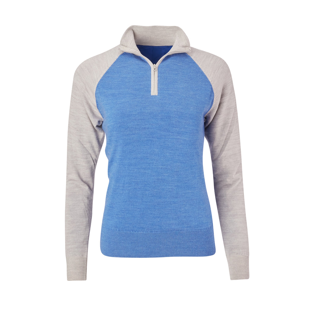 THE WOMEN'S CHITOWN RAGLAND MERINO HALF ZIP PULLOVER - Cloud/Nautical Heather IS75788HLSW