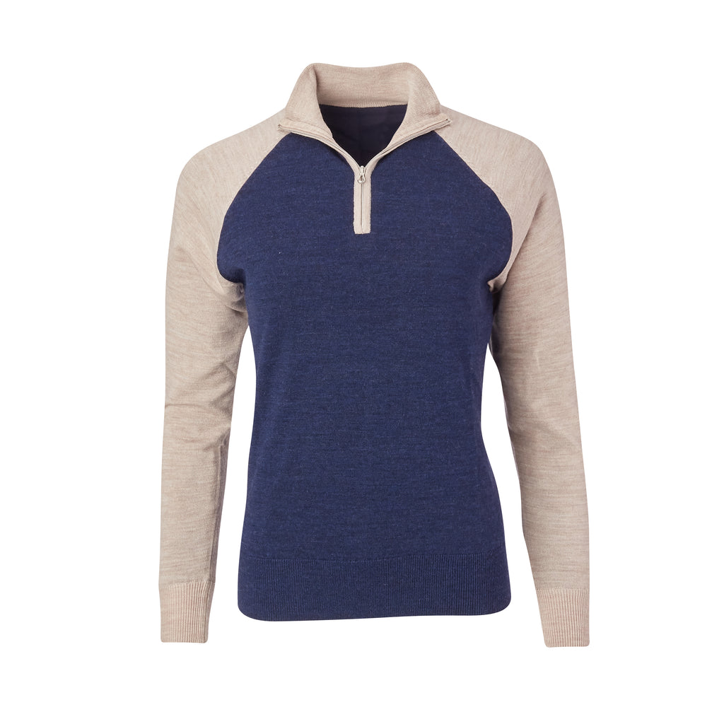 THE WOMEN'S CHITOWN RAGLAND MERINO HALF ZIP PULLOVER - Tan/Navy Heather IS75788HLSW