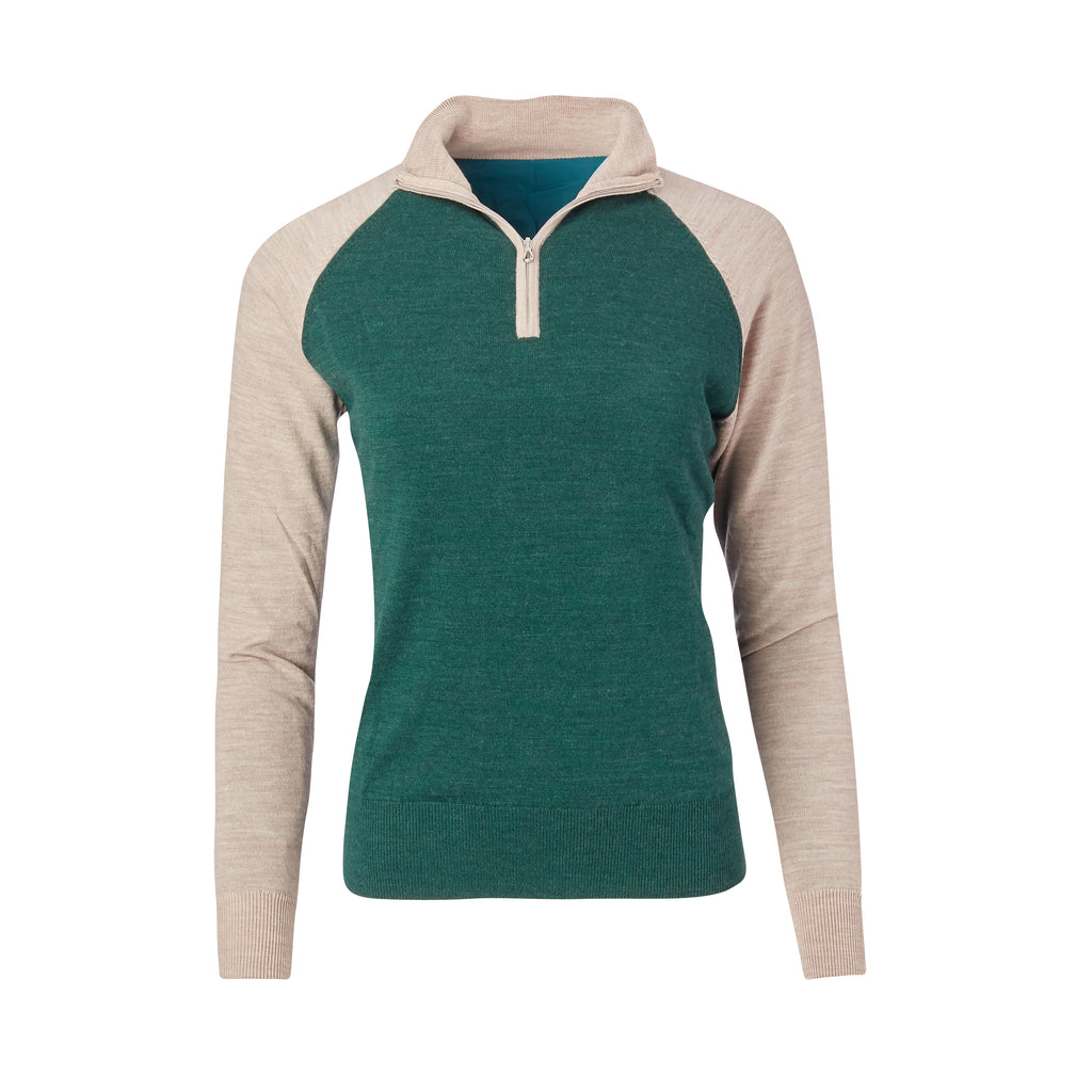 THE WOMEN'S CHITOWN RAGLAND MERINO HALF ZIP PULLOVER - Tan/Pine Heather IS75788HLSW