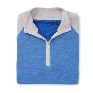 THE CHITOWN RAGLAND MERINO HALF ZIP PULLOVER - Cloud/Nautical Heather IS75788HLS
