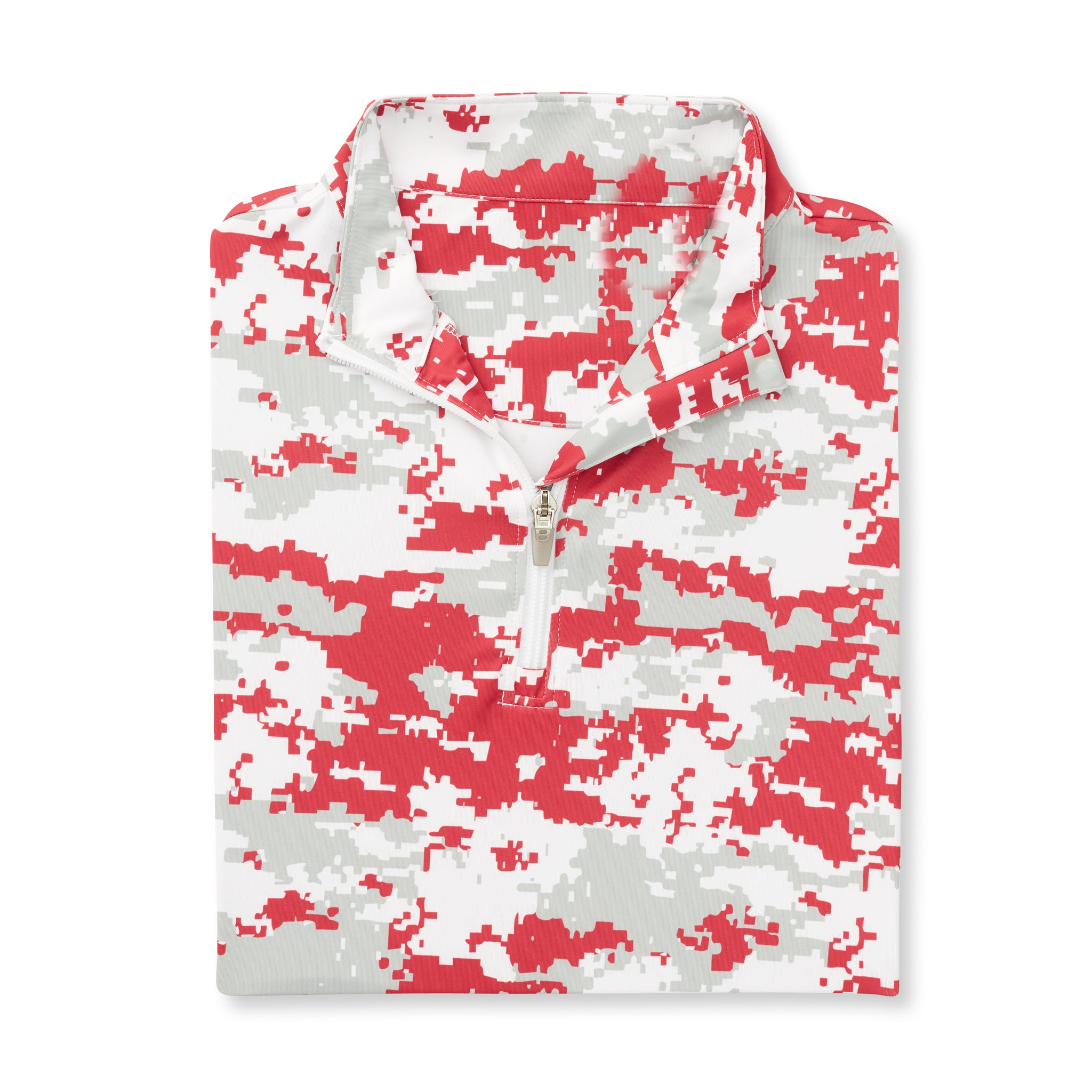 Womens Digital Camo Half Zip - Crimson Red IS76005W