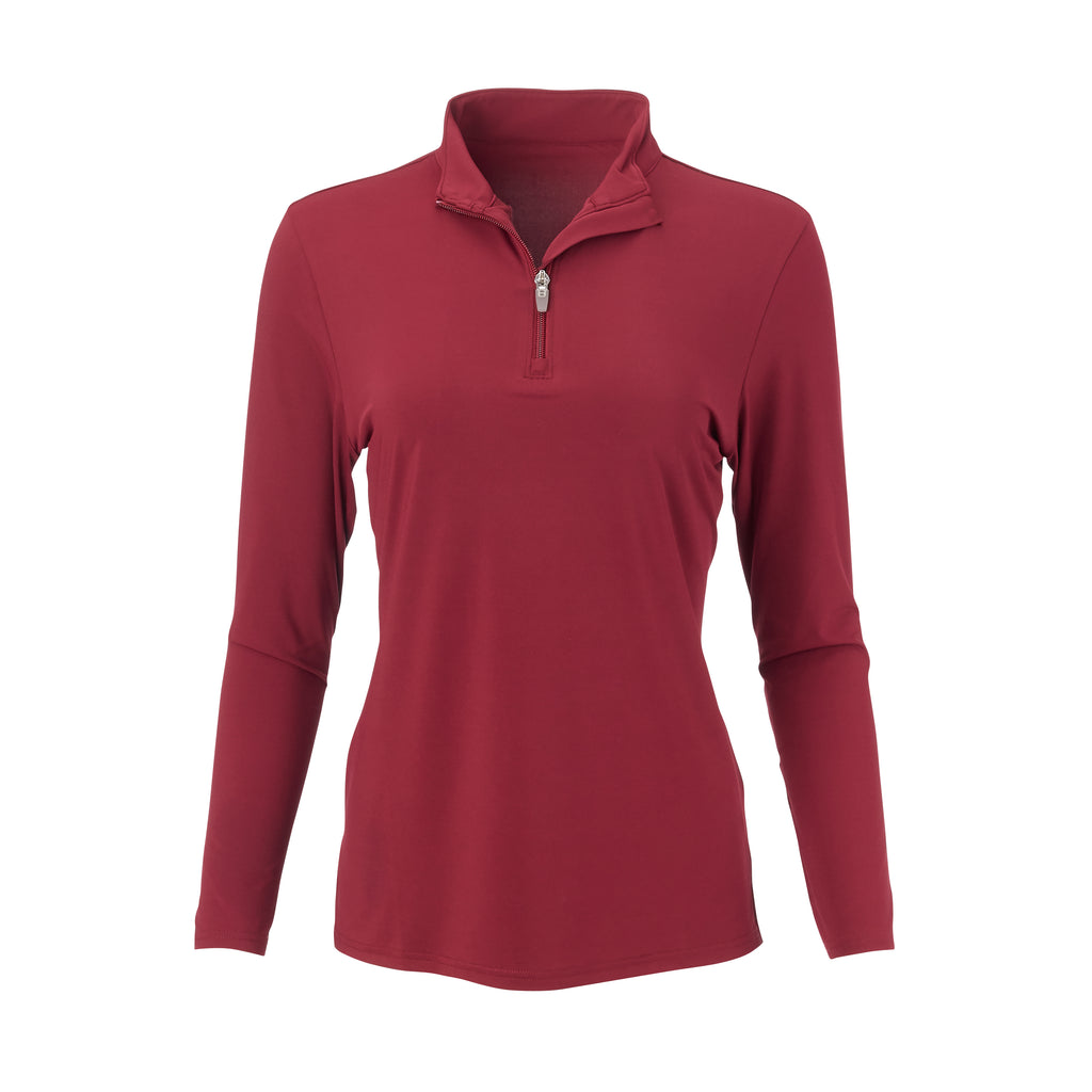 THE WOMEN'S CLASSIC LONG SLEEVE HALF ZIP PULLOVER - Merlot IS76006W