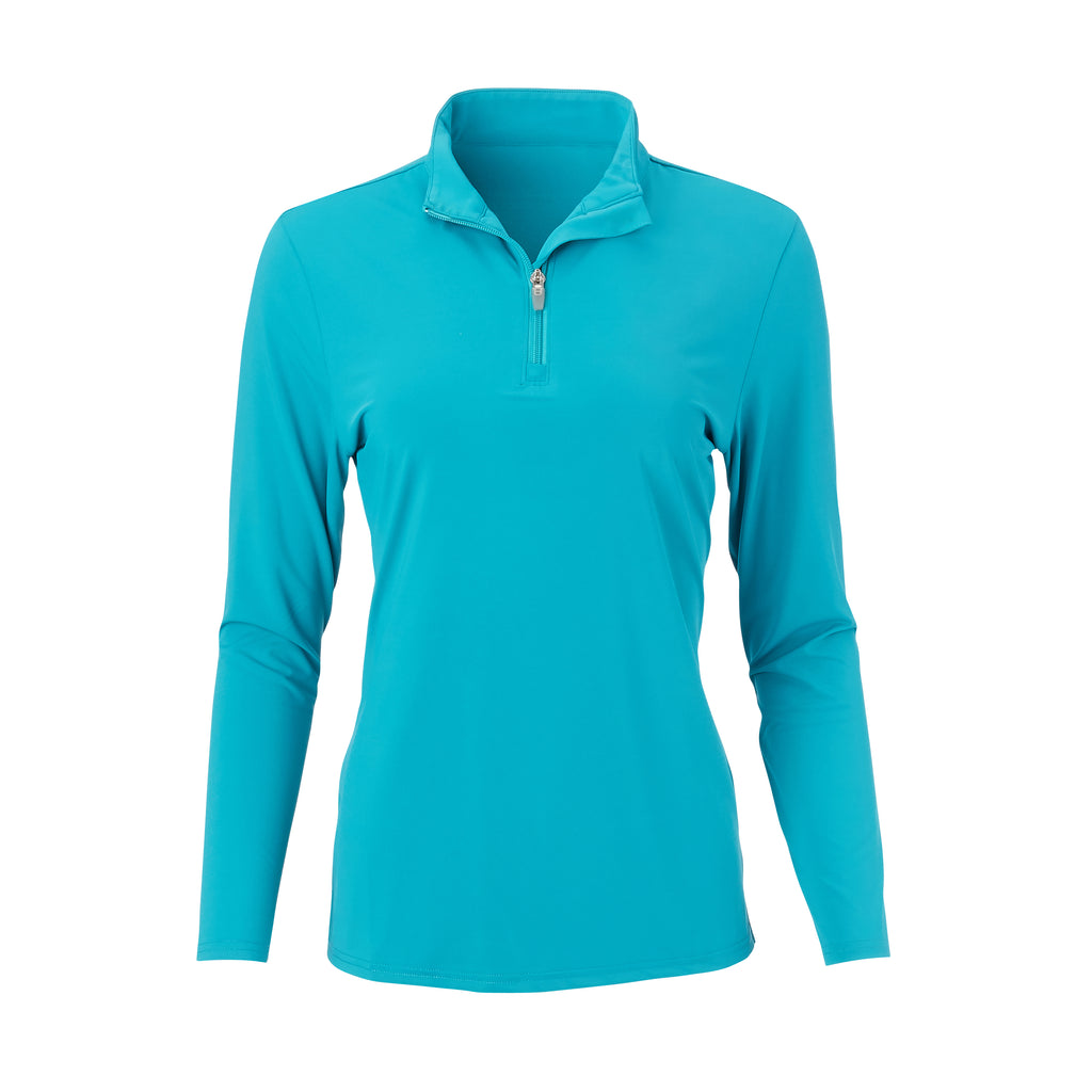 THE WOMEN'S CLASSIC LONG SLEEVE HALF ZIP PULLOVER - Teal IS76006W