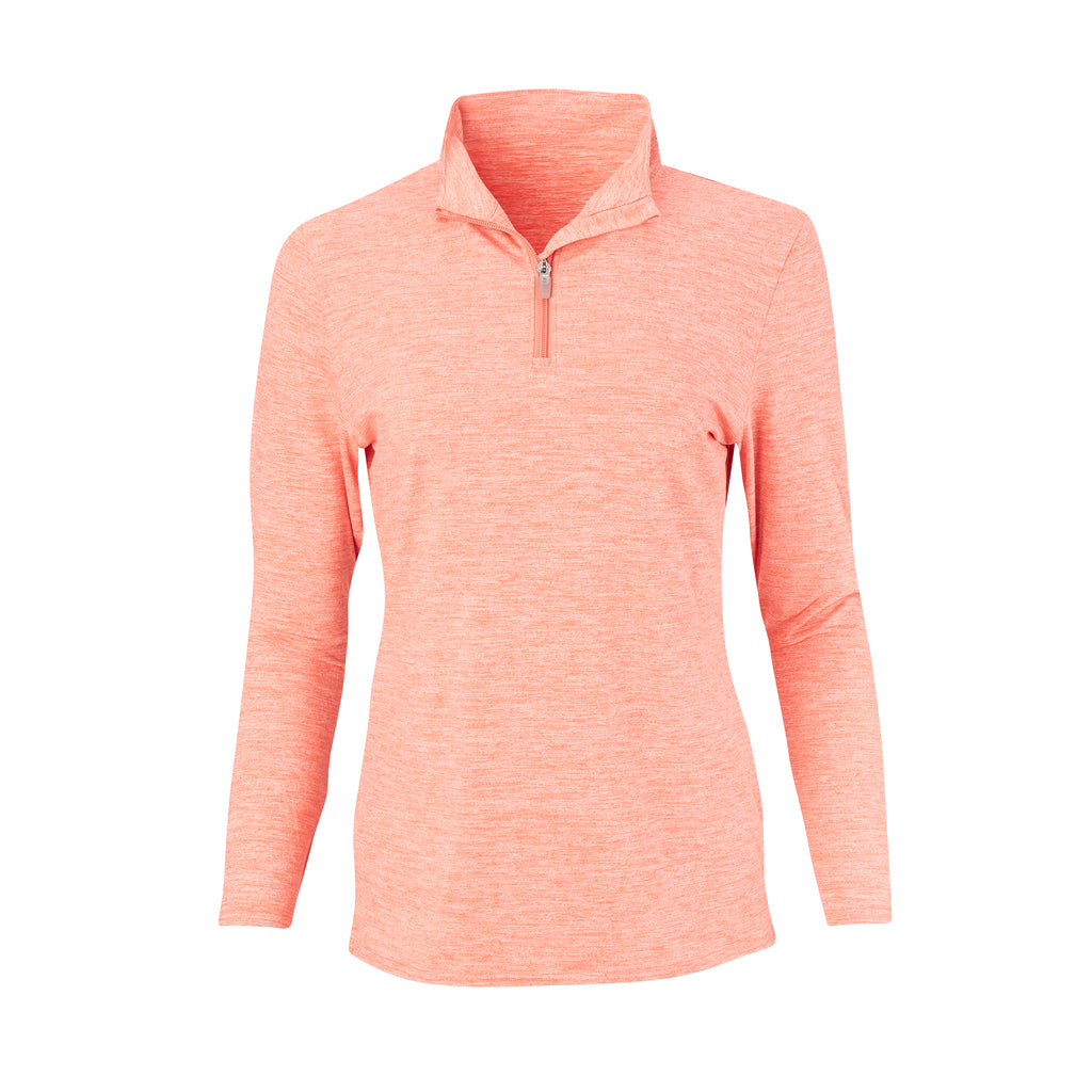 THE WOMEN'S ZEN PEACHED HALF ZIP PULLOVER - Vibrant Orange IS76116W