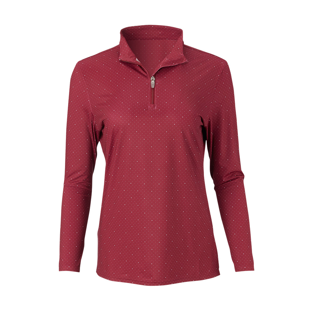 THE WOMEN'S SKYWALKER HALF ZIP PULLOVER - Merlot/White IS76216W