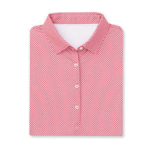THE WOMEN'S VINEYARD GINGHAM POLO - Crimson IS76801W
