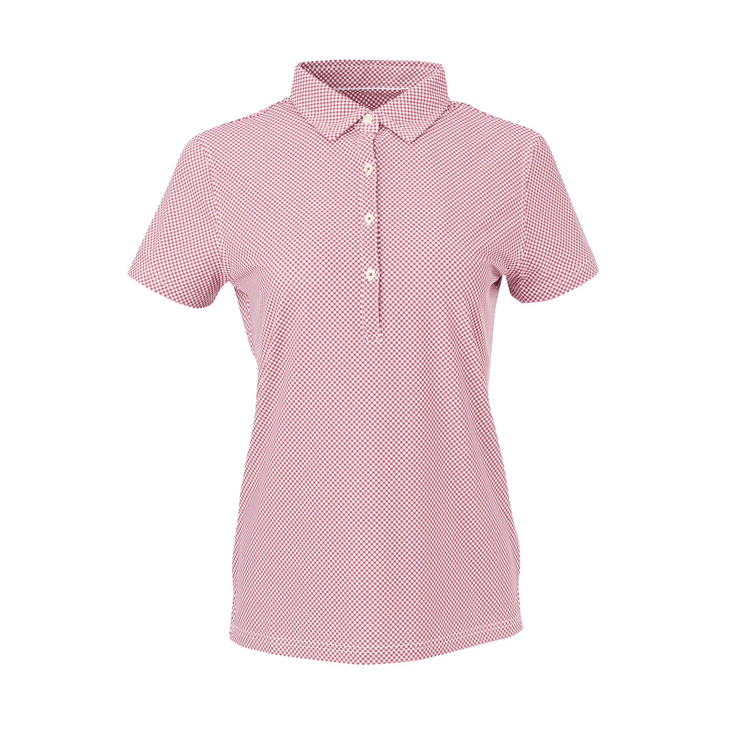 THE WOMEN'S VINEYARD GINGHAM POLO - Merlot IS76801W