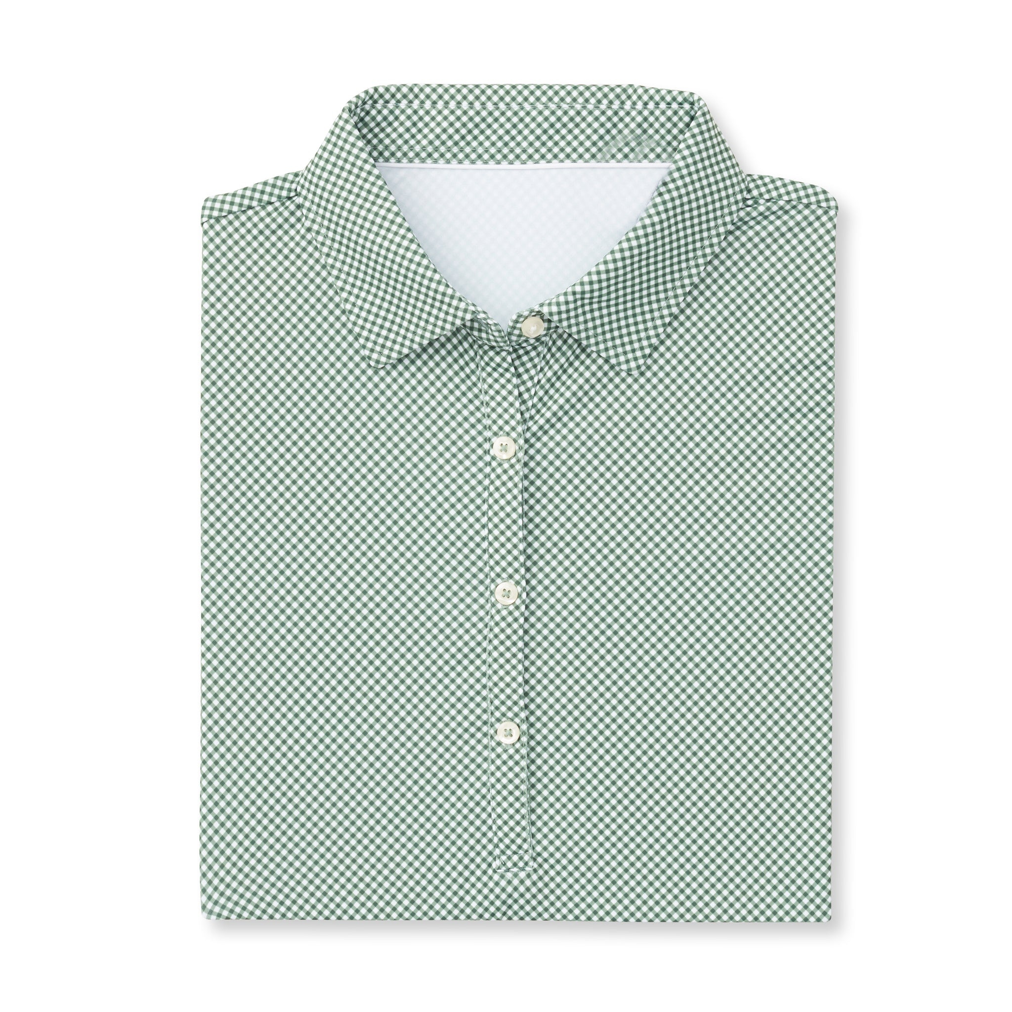 Womens ECOTEC Short Sleeve Gingham Polo - Pine IS76801W