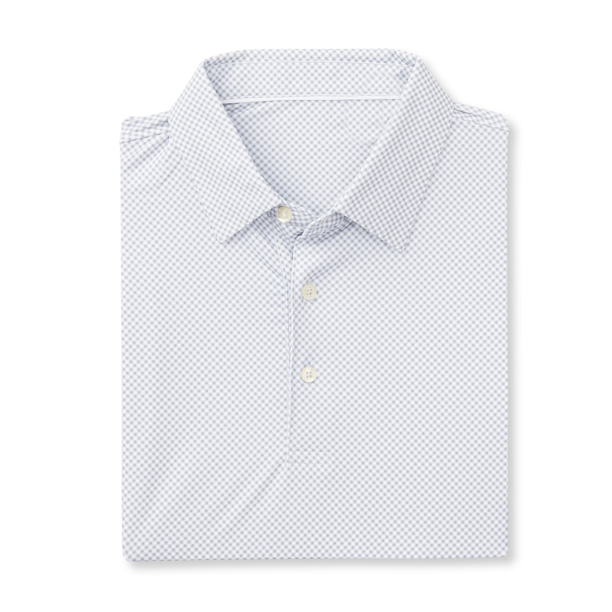 ECOTEC Short Sleeve Gingham Polo - Cloud IS76801