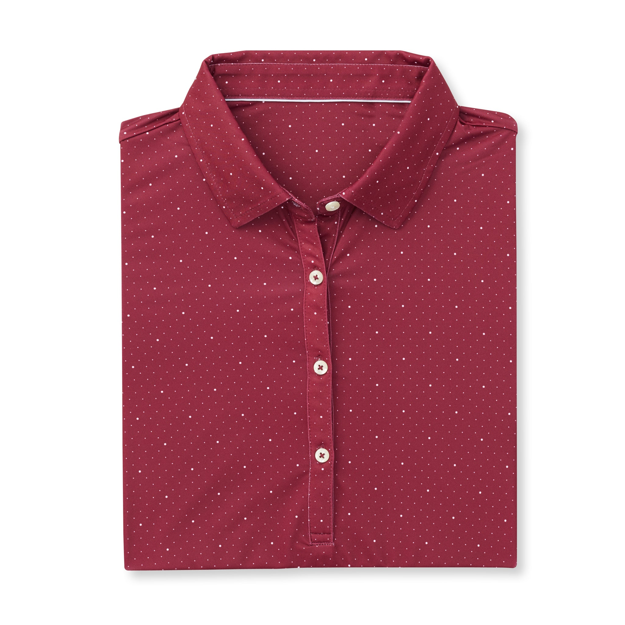 Womens ECOTEC Short Sleeve Dual Dot Polo - Merlot/White IS76803W