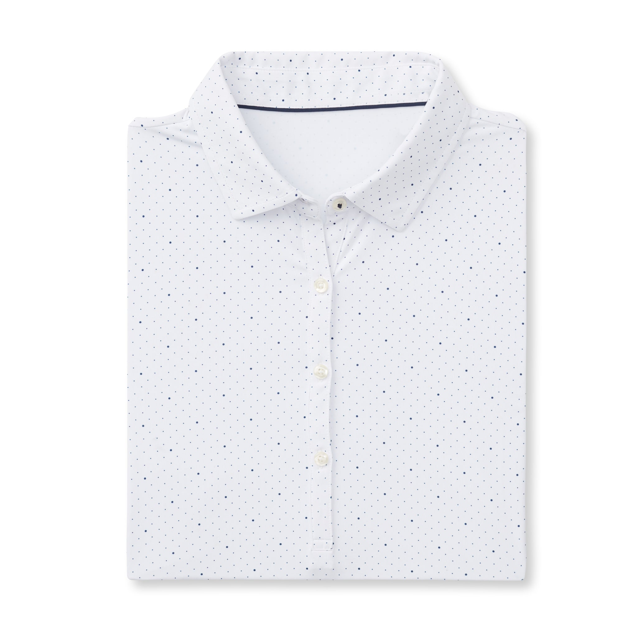 Womens ECOTEC Short Sleeve Dual Dot Polo - White/Navy IS76803W