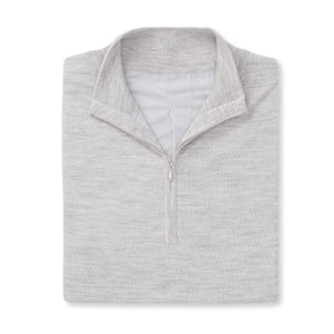 THE CHITOWN MERINO HALF ZIP VEST- Cloud Heather IS85708HZVE