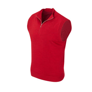 THE CHITOWN MERINO HALF ZIP VEST- Crimson Heather IS85708HZVE