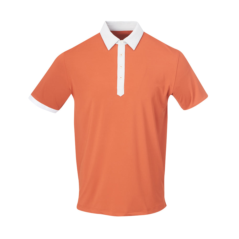 THE STADIUM COLORBLOCK POLO - Burnt Orange/Cloud  IS86806