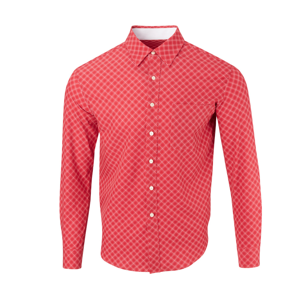 THE  BOSS JASON DIAGONAL SPORT SHIRT - IS92310 Crimson/White