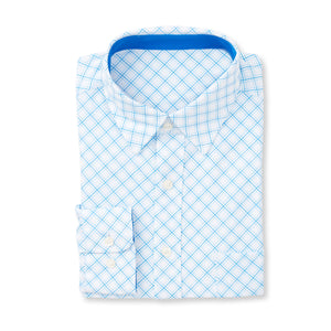THE  BOSS JASON DIAGONAL SPORT SHIRT - IS92310 White/Nautical