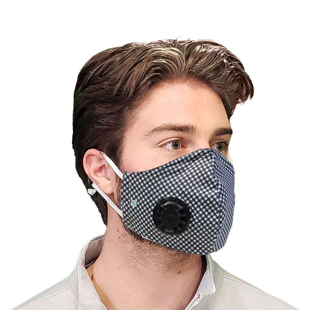 DistanZ EcoTec Health Mask - Black Gingham MASK2020C