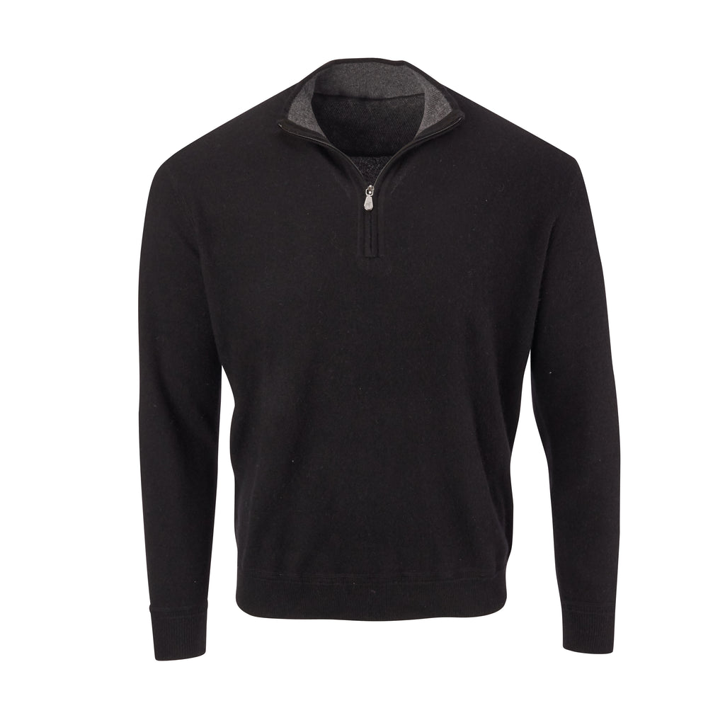 THE RODEO CASHMERE HALF ZIP SWEATER - Black OS35709HLS
