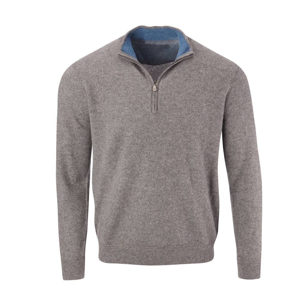 THE RODEO CASHMERE HALF ZIP SWEATER - Granite OS35709HLS