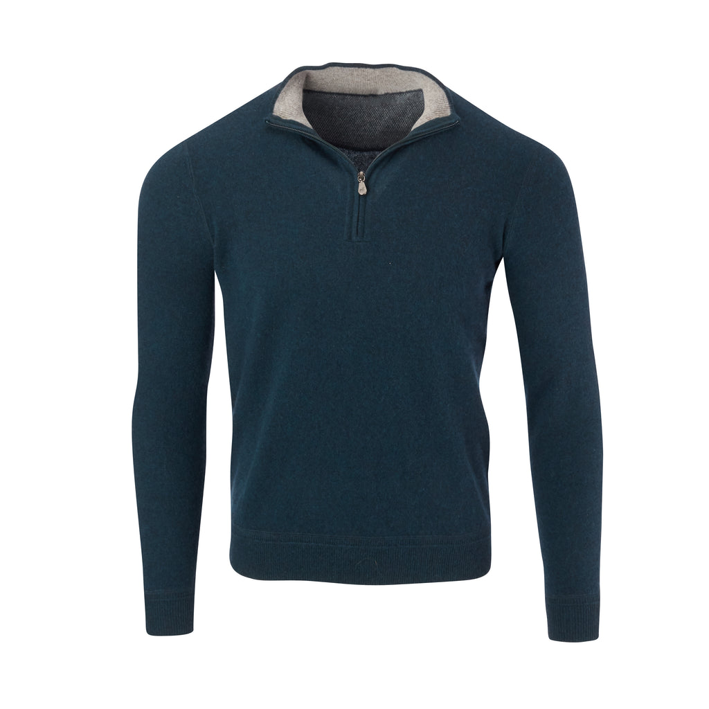 THE RODEO CASHMERE HALF ZIP SWEATER - Peacock OS35709HLS