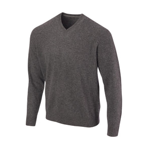 THE 5TH AVENUE CASHMERE V-NECK SWEATER - Granite OS35709VLS