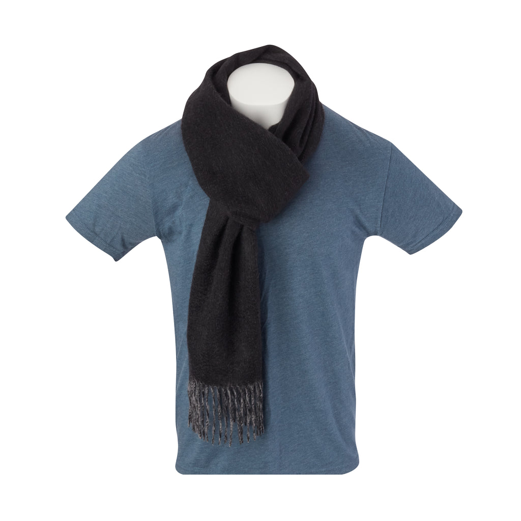 THE CROSBY CASHMERE  DOUBLE FACED SCARF - Black/Granite OS85779SCRF