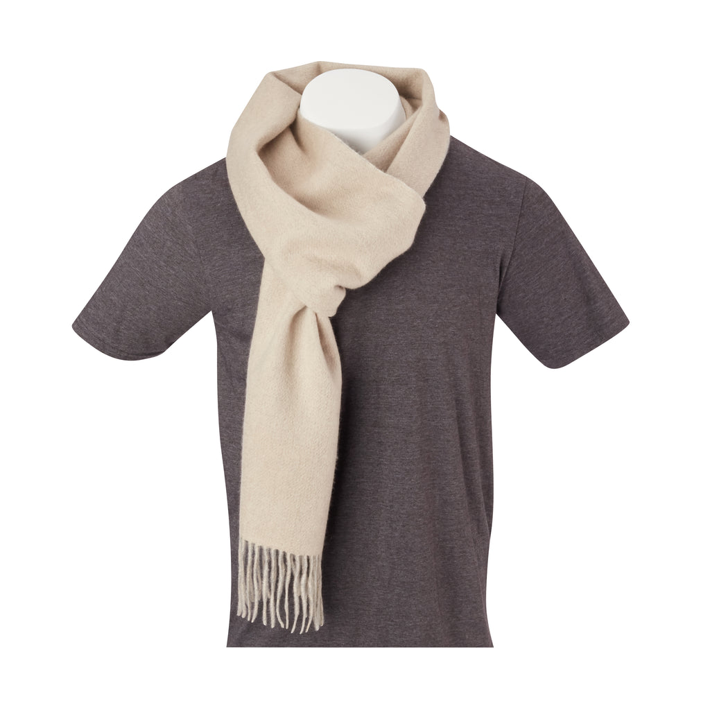 THE CROSBY CASHMERE  DOUBLE FACED SCARF - Oatmeal/Steel OS85779SCRF