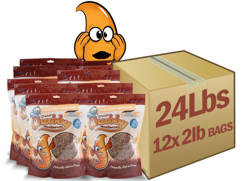 24lb Chubby Dried Mealworms  (2lb Case Deal)