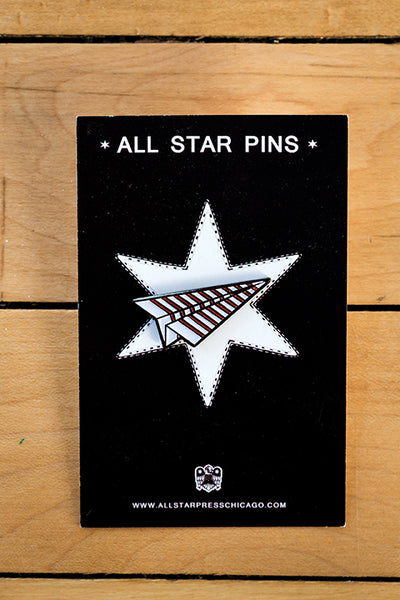 Paper Airplane Enamel Pin by Sean Mort
