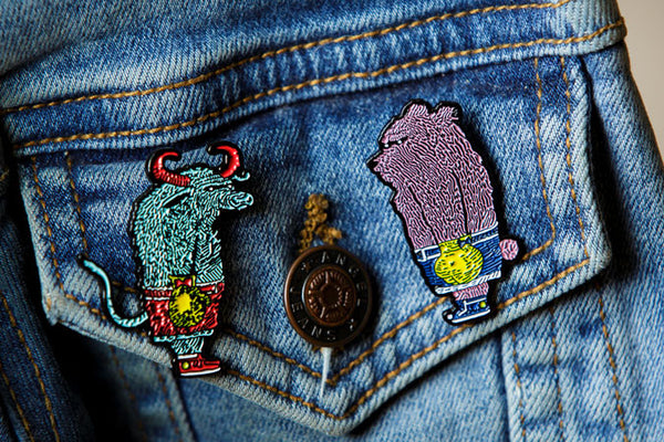 Bear & Bull Enamel Pin Set by David Welker