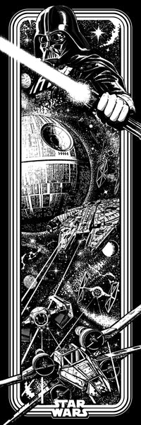Star Wars Arcade Black & White Foil Variant Print by Jake.psd