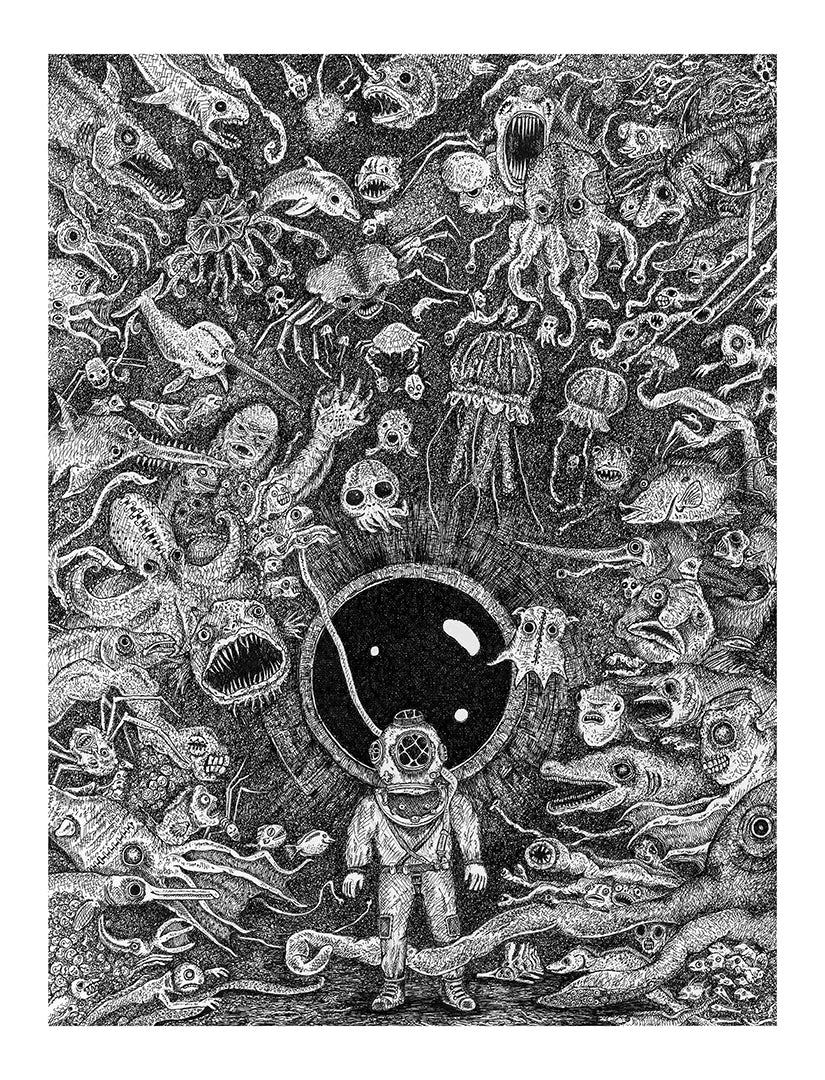 Thalassophobia (fear of the sea) Screen print by Anthony Christopher