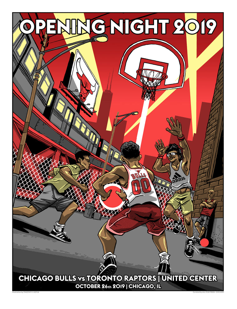 Officially Licensed Chicago Bulls '19 - '20 Opening Day Print By Tim Doyle