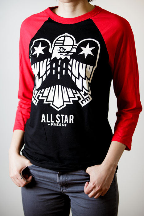 All Star Press Logo Baseball Tee in Red/Black