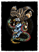 "Load image into Gallery viewer, ""Skull, Snake & Eagle"" by Adam Lundquist"