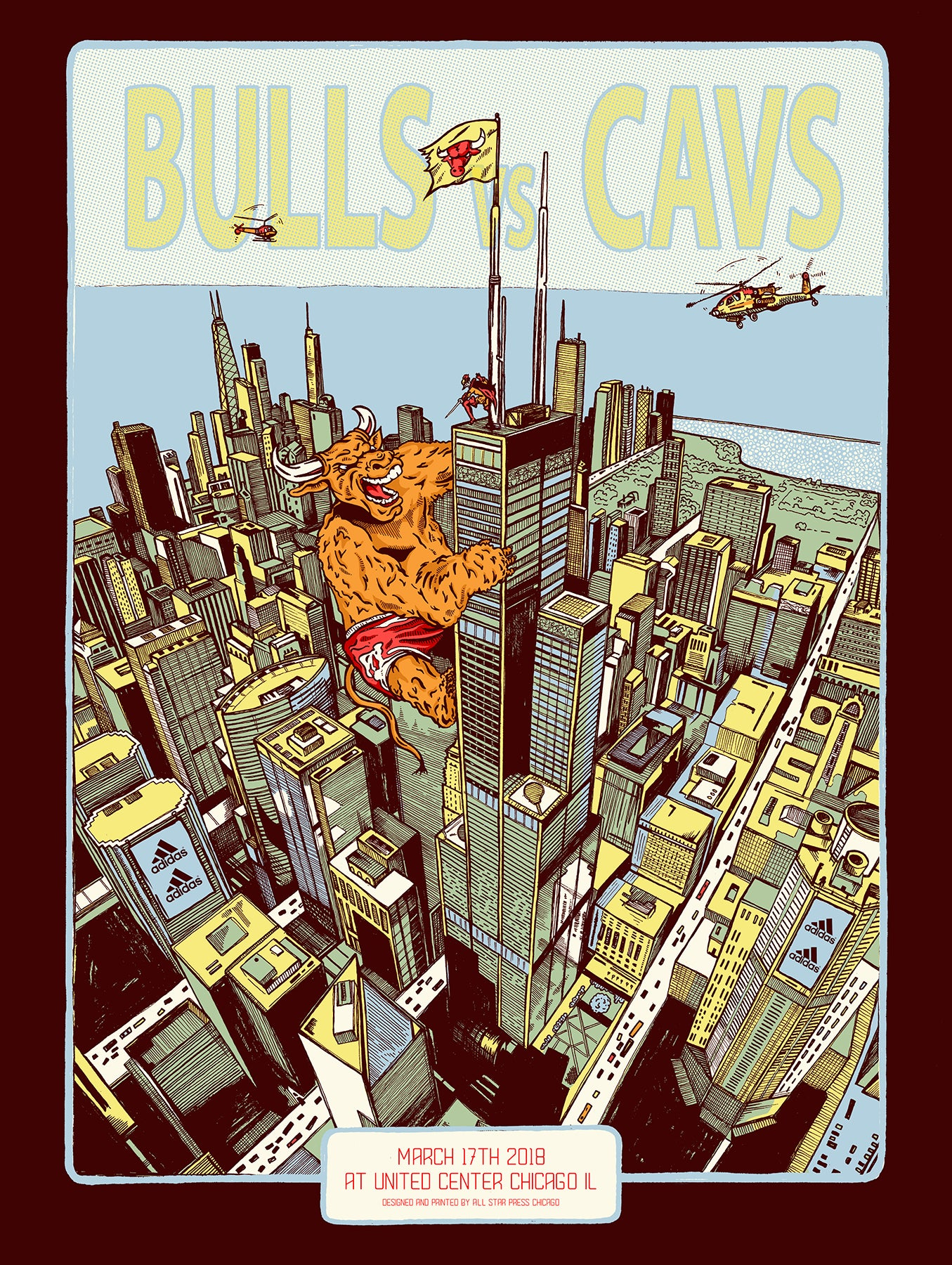 Chicago Bulls Exclusive: Cavaliers VS Bulls Print by Zissou Tasseff-Elenkoff