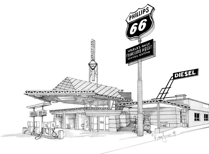 Frank Lloyd Wright Service Station Print by Kate Lewis