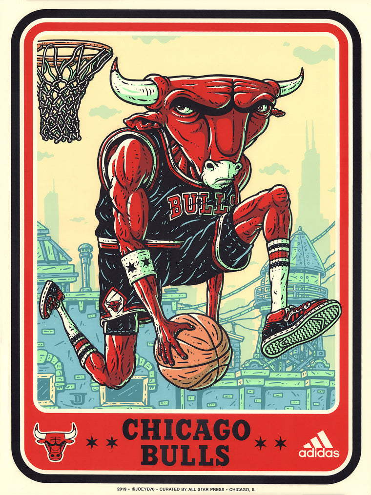 Official 76ERS VS Bulls Print by Joey D. Variant