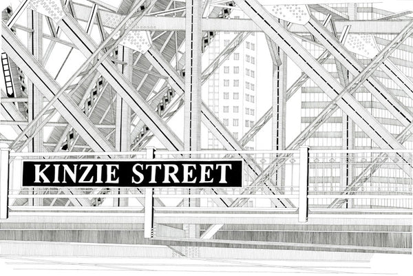Kinzie Street Bridge Print by Kate Lewis