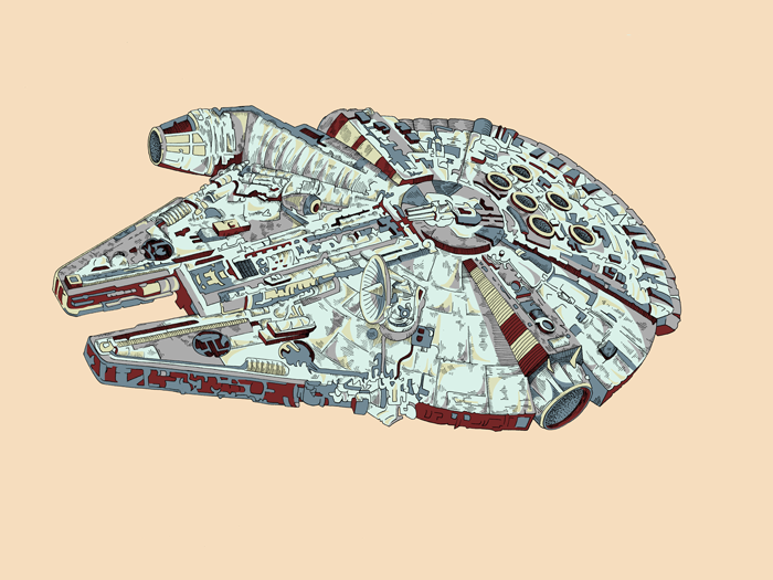 Millennium Falcon Print by Kate Lewis